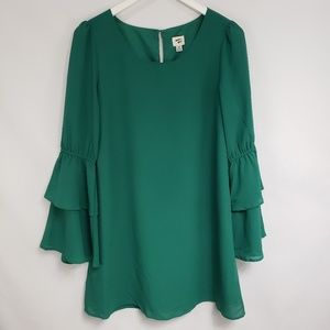 A New Day Emerald Green Bell Sleeve Popover Dress